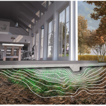 An artist's impression of bacteria forming building foundations