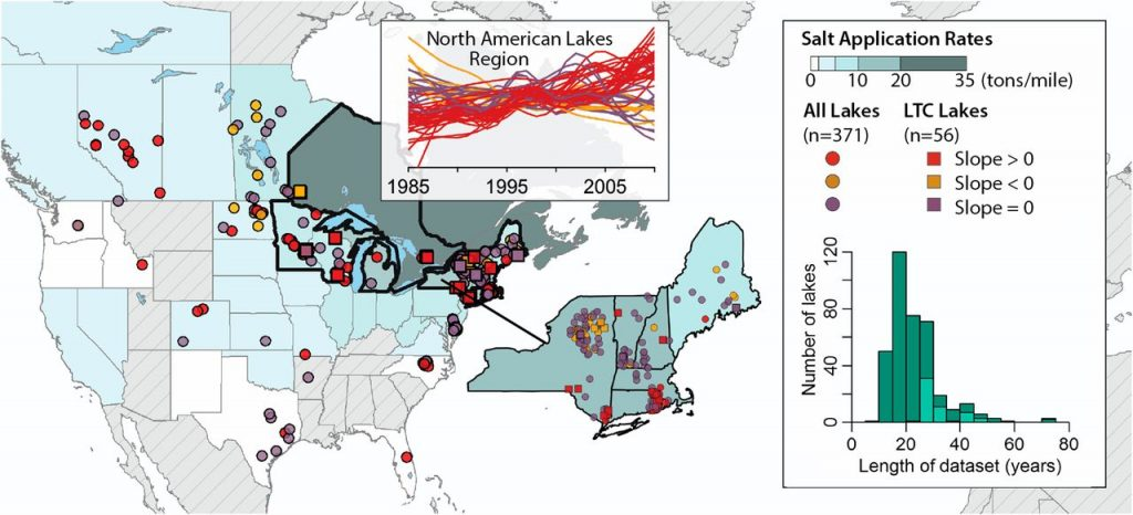 This is calling out for a large microbiome study: Salt from icy roads is contaminating North America's lakes