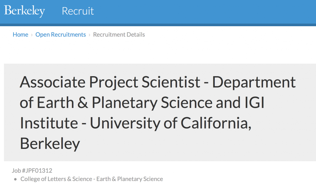 Project Scientist – Earth & Planetary Science and IGI Institute at UC Berkeley