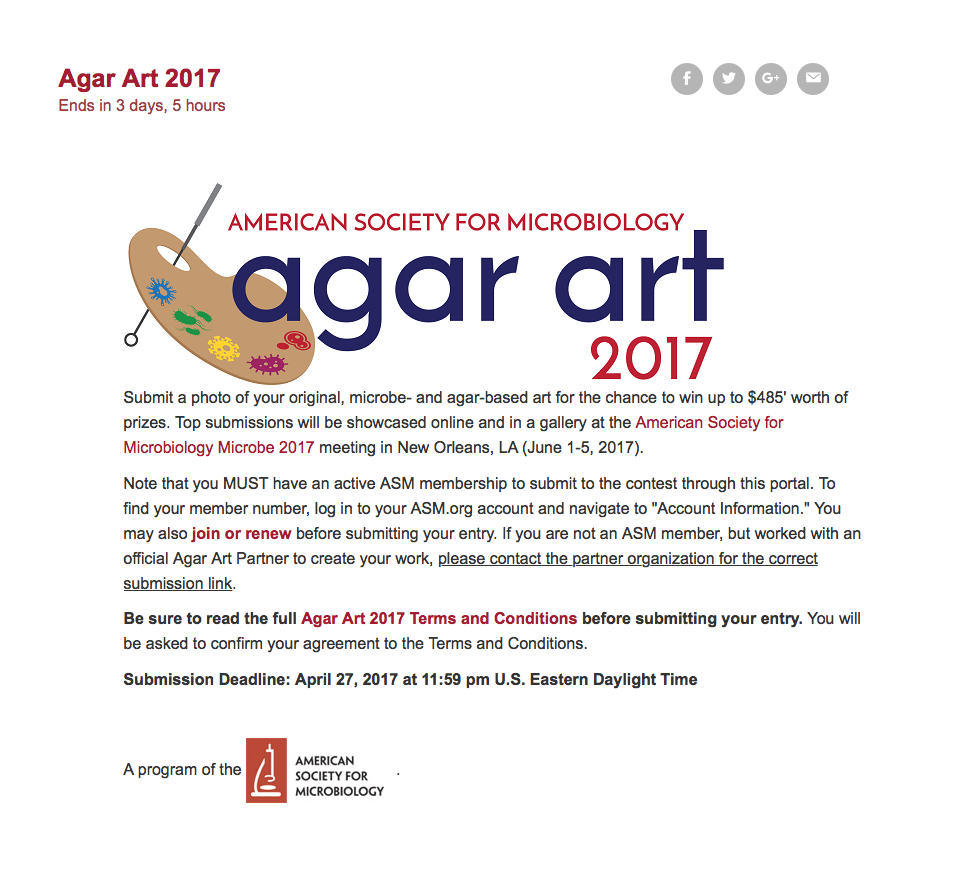 ASM Agar Art competition submissions due 4-27