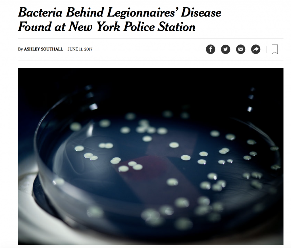Legionnaires' Bacteria Found at New York Police Station