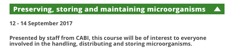 """Training course in """"Preserving, storing and maintaining microorganisms"""""""