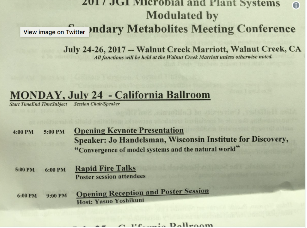 Storify of Talk by Jo Handelsman at DOE JGI Meeting on Plant Secondary Metabolites